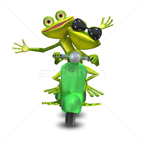 Ilustração 3d dois motor verde sorrir Foto stock © brux