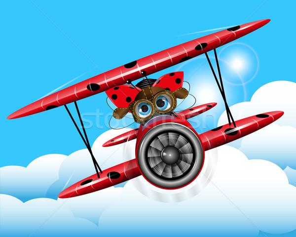 Joaninha avião ilustração alegre vermelho céu Foto stock © brux