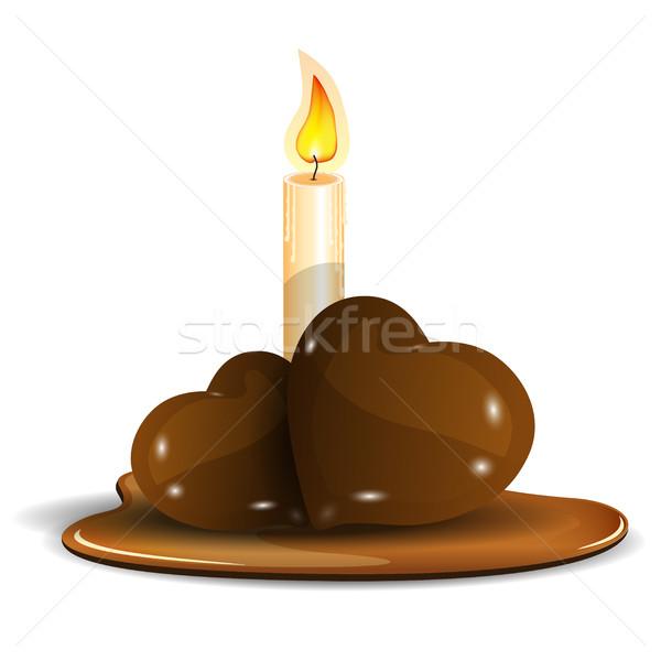 Forró csokoládé szívek illusztráció égő gyertya csokoládé Stock fotó © brux