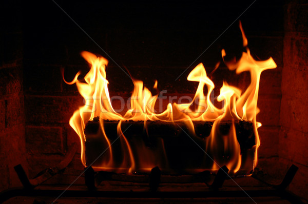 Burning log in the fireplace Stock photo © bryndin
