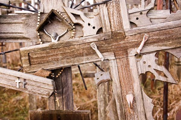 Broken Jesus figure on an old cross Stock photo © bryndin