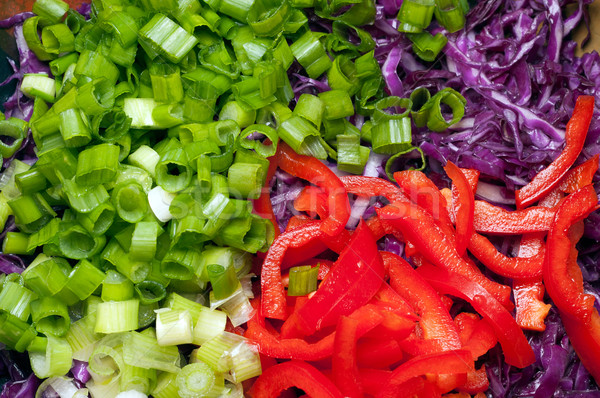 Picado ensalada ingredientes verde cebollas dulce Foto stock © bryndin