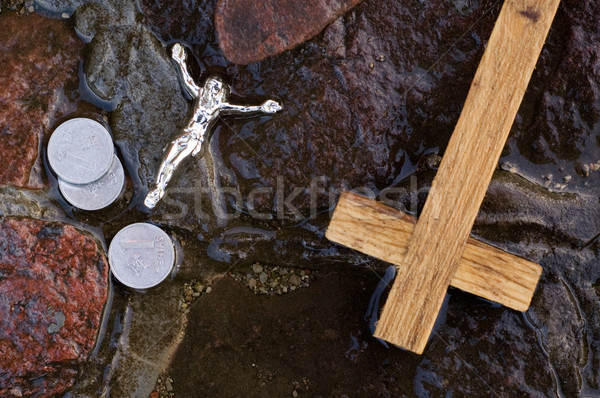 Cross, coins and Jesus figure. Stock photo © bryndin