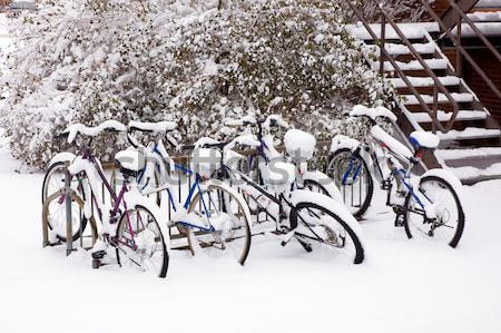Bikes after the snowstorm. Stock photo © bryndin