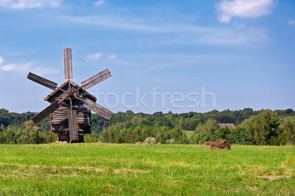 古い 風車 木製 木材 木 ストックフォト © bryndin