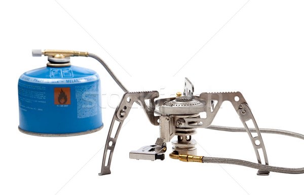 Kempingezés benzin tűzhely patron izolált fehér Stock fotó © BSANI