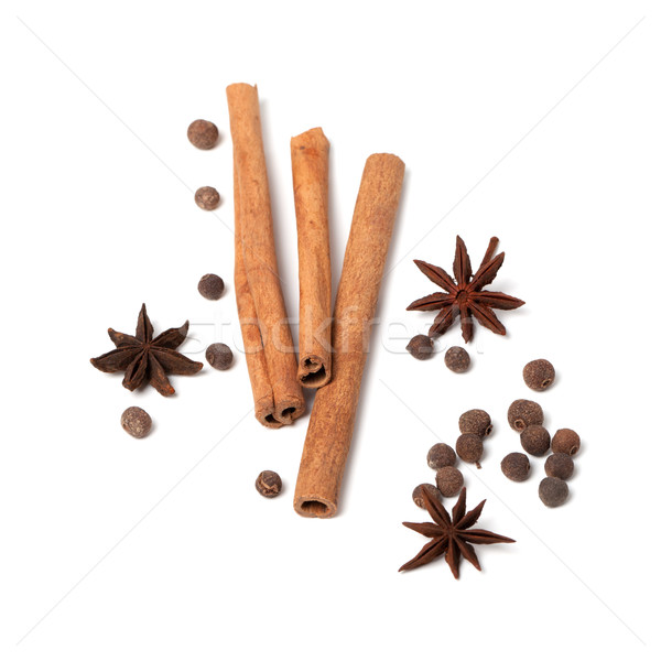 Black peppercorns, anise stars and cinnamon sticks Stock photo © BSANI