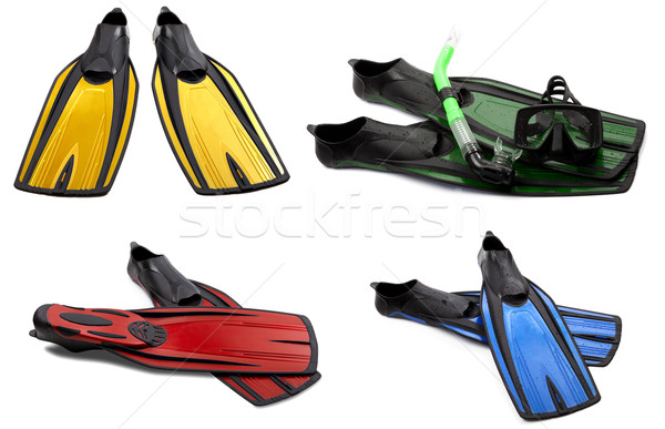 Set of multicolored swim fins, masks and snorkel for diving Stock photo © BSANI