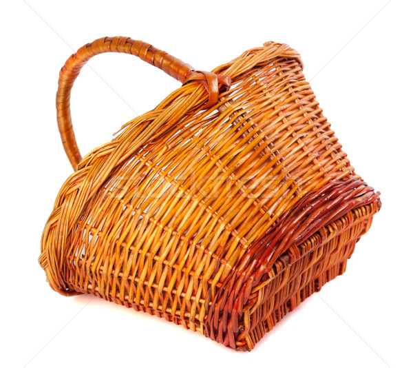Empty wicker basket on white background Stock photo © BSANI