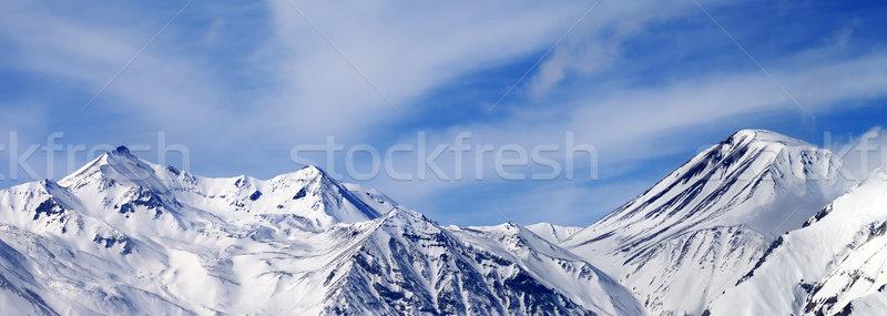 Panorâmico ver inverno montanhas ventoso dia Foto stock © BSANI