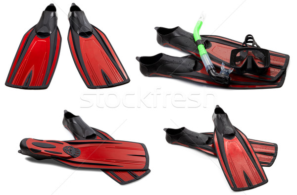 Set of red swim fins, mask and snorkel for diving Stock photo © BSANI