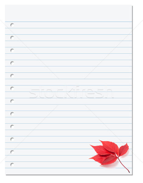 Notebook paper with red autumn virginia creeper leaf in corner Stock photo © BSANI