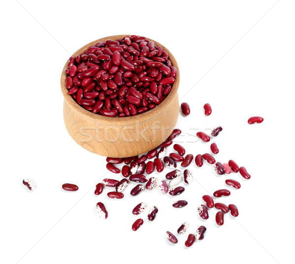Red haricot beans in wooden bowl Stock photo © BSANI