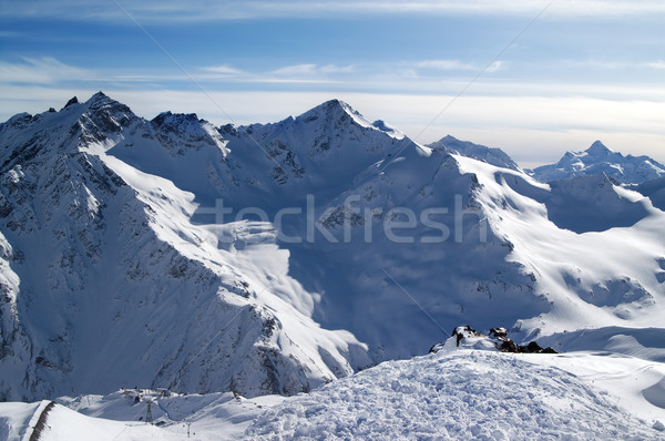 Snowy off-piste slopes at evening Stock photo © BSANI