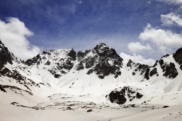 Kar dağlar bahar gökyüzü bulutlar manzara Stok fotoğraf © BSANI