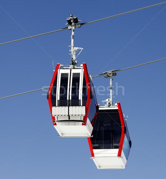 Two gondola lifts close-up view Stock photo © BSANI