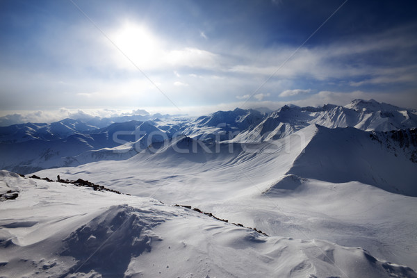 Stock photo: Snowy mountains and view on off-piste slope