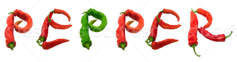 Stock photo: PEPPER text composed of chili peppers
