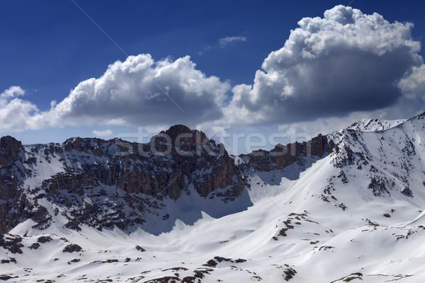Nieve montanas cielo azul nube agradable día Foto stock © BSANI