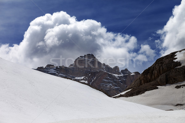 Rocks with clouds and snow plateau Stock photo © BSANI