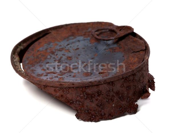 Rozsdás konzervdoboz konzerv izolált fehér szelektív fókusz Stock fotó © BSANI