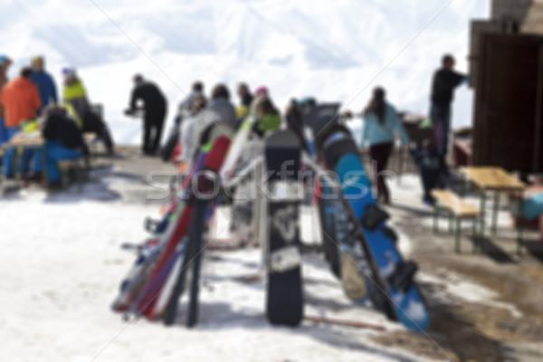 Blurred outdoor cafe at ski resort not in focus Stock photo © BSANI