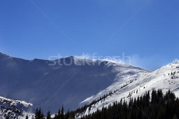 Inverno neve montanhas ensolarado ventoso dia Foto stock © BSANI