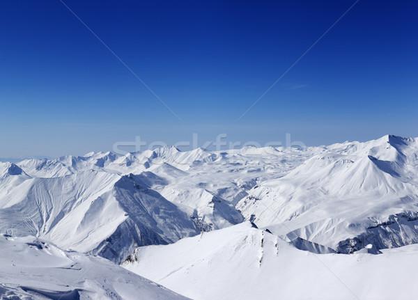 Foto stock: Panorâmico · ver · montanhas · bom · dia · cáucaso