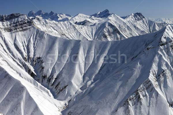 Winter mountains, view from ski resort Stock photo © BSANI