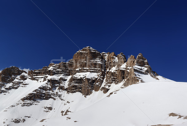Panorama of snowy rocks at nice spring day Stock photo © BSANI