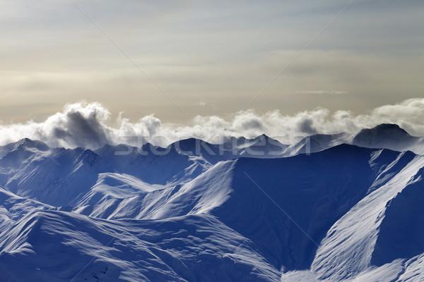 Hó hegyek este Kaukázus Grúzia kilátás Stock fotó © BSANI