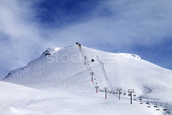 Ski slope and chair-lift at morning Stock photo © BSANI