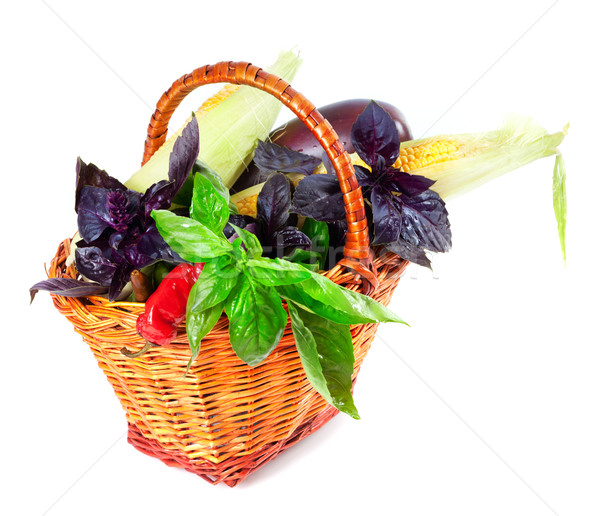 Vegetables in wicker basket Stock photo © BSANI