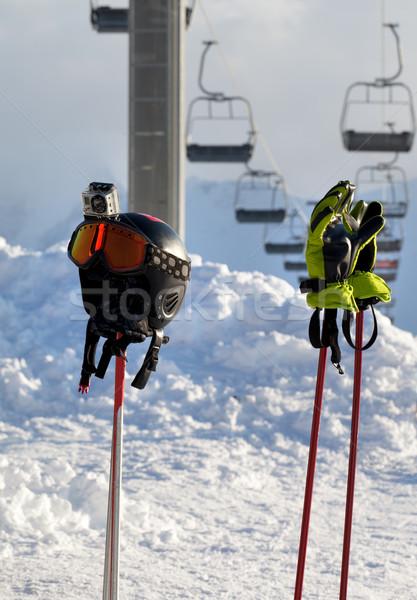 Spor malzemeleri Kayak başvurmak araba güneş spor Stok fotoğraf © BSANI