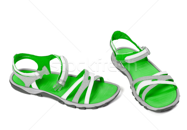 Stockfoto: Paar · zomer · sandalen · geïsoleerd · witte · strand