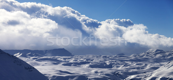 Panoramic view on snow plateau in evening Stock photo © BSANI