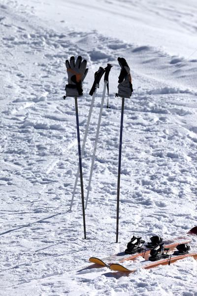 Skiing equipment on ski slope at sun day Stock photo © BSANI