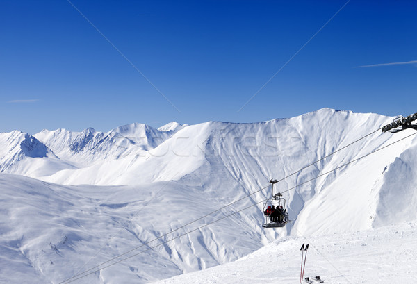 Skiers on ropeway at ski resort Gudauri Stock photo © BSANI