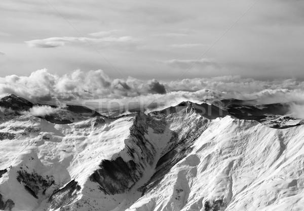 Siyah beyaz kış dağlar buğu kafkaslar Georgia Stok fotoğraf © BSANI