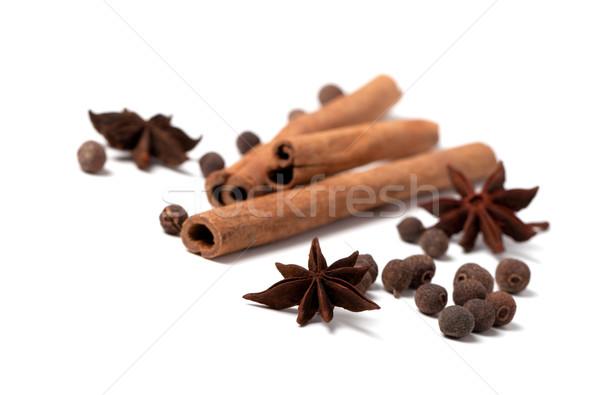 Cinnamon sticks, anise stars and black peppercorns Stock photo © BSANI