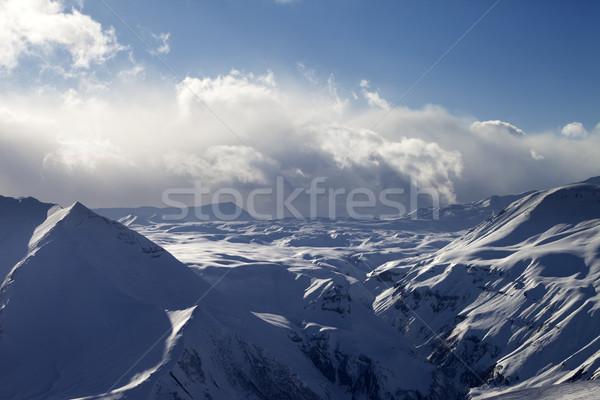 снега плато вечер солнечный свет облака Кавказ Сток-фото © BSANI
