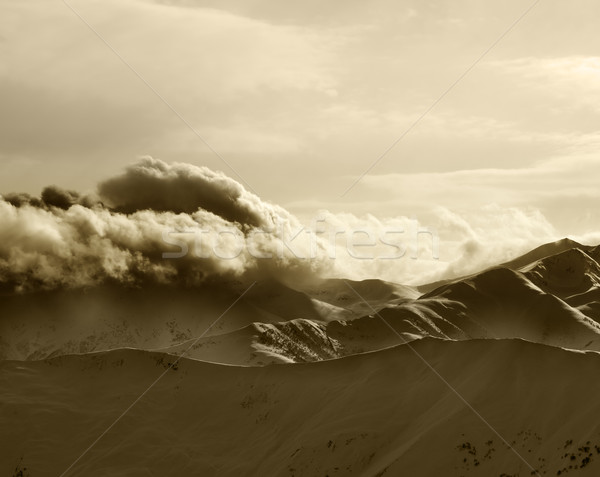 Sepia mountains in haze at sunny evening Stock photo © BSANI