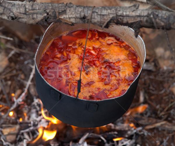 Cozinhar tradicional sopa fogueira ver Foto stock © BSANI