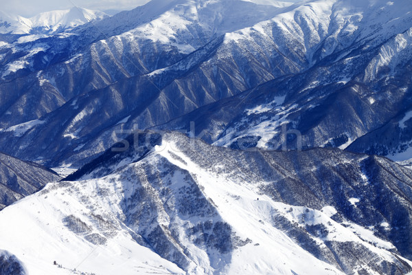 Top view on snowy mountains with forest Stock photo © BSANI