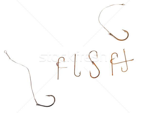Parola vecchio arrugginito pesce isolato bianco Foto d'archivio © BSANI