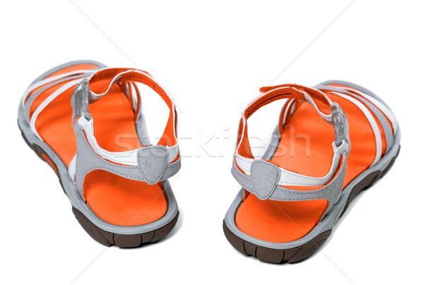 Summer sandals on white background Stock photo © BSANI