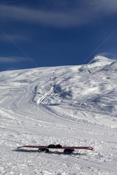 スノーボード 雪 太陽 風の強い 日 ストックフォト © BSANI