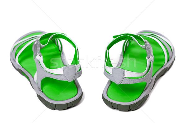 Groene zomer sandalen witte geïsoleerd achteraanzicht Stockfoto © BSANI