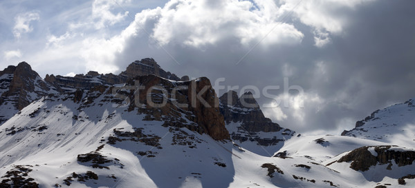 Panoramic view on winter mountains in storm clouds Stock photo © BSANI