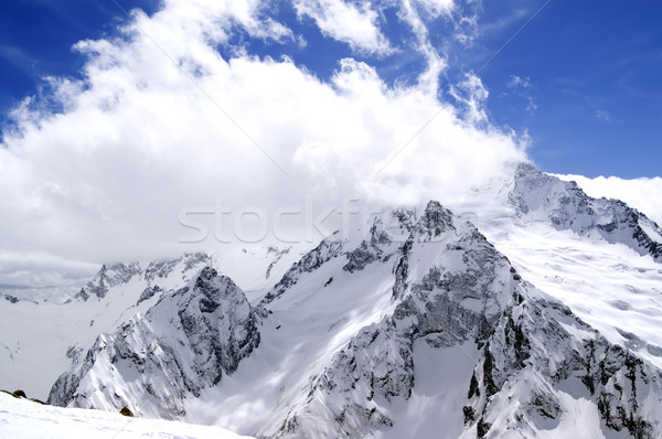 Kafkaslar dağlar Kayak başvurmak manzara buz Stok fotoğraf © BSANI